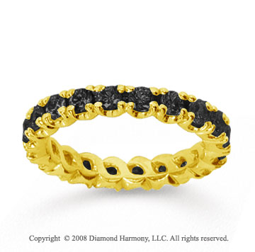 1 1/2Carat Black Diamond 18k Yellow Gold Round Four Prong Eternity Band