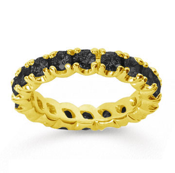 2 1/2Carat Black Diamond 18k Yellow Gold Round Four Prong Eternity Band
