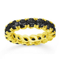 3 1/2Carat Black Diamond 18k Yellow Gold Round Four Prong Eternity Band