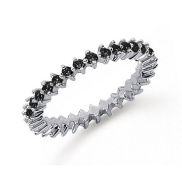 3/5 Carat Black Diamond Platinum Round Open Prong Eternity Band