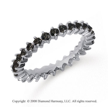 1 Carat Black Diamond Platinum Round Open Prong Eternity Band