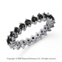 1 1/2 Carat Black Diamond Platinum Round Open Prong Eternity Band