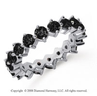 2 1/2Carat Black Diamond Platinum Round Open Prong Eternity Band