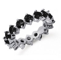 3 Carat Black Diamond Platinum Round Open Prong Eternity Band
