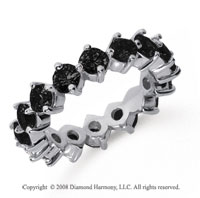 3 1/2Carat Black Diamond Platinum Round Open Prong Eternity Band