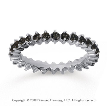 1 Carat Black Diamond 14k White Gold Round Open Prong Eternity Band