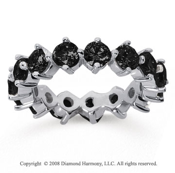 4 Carat Black Diamond 14k White Gold Round Open Prong Eternity Band