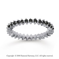 3/5 Carat Black Diamond 18k White Gold Round Open Prong Eternity Band