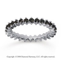 1 Carat Black Diamond 18k White Gold Round Open Prong Eternity Band