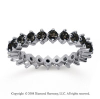 1 1/2 Carat Black Diamond 18k White Gold Round Open Prong Eternity Band
