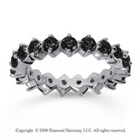 2 Carat Black Diamond 18k White Gold Round Open Prong Eternity Band