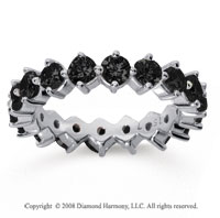 2 1/2 Carat Black Diamond 18k White Gold Round Open Prong Eternity Band
