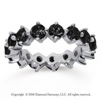 4 Carat Black Diamond 18k White Gold Round Open Prong Eternity Band