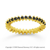 3/5 Carat Black Diamond 14k Yellow Gold Round Open Prong Eternity Band