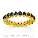 1 1/2 Carat Black Diamond 14k Yellow Gold Round Open Prong Eternity Band