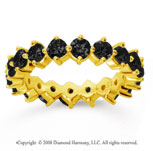 2 1/2 Carat Black Diamond 14k Yellow Gold Round Open Prong Eternity Band