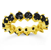 4 Carat Black Diamond 14k Yellow Gold Round Open Prong Eternity Band