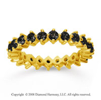 1 1/2 Carat Black Diamond 18k Yellow Gold Round Open Prong Eternity Band