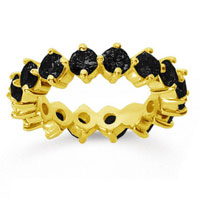 3 Carat Black Diamond 18k Yellow Gold Round Open Prong Eternity Band