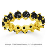4 Carat Black Diamond 18k Yellow Gold Round Open Prong Eternity Band