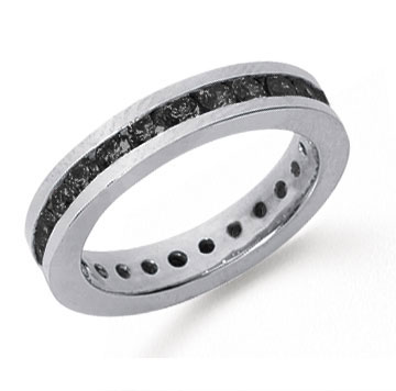 1 Carat Black Diamond Platinum Channel Eternity Band