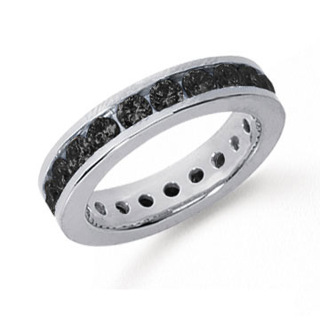1 1/2 Carat Black Diamond Platinum Channel Eternity Band