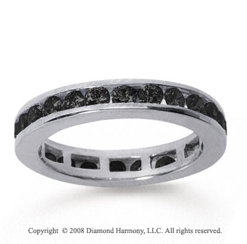1/2 Carat Black Diamond 14k White Gold Channel Eternity Band
