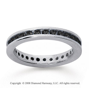 3/4 Carat Black Diamond 14k White Gold Channel Eternity Band