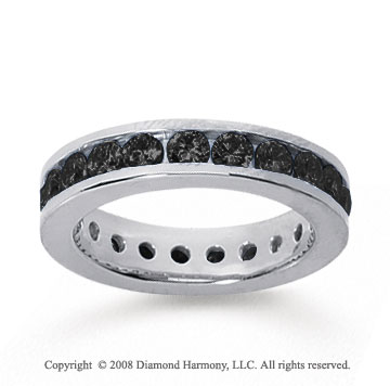 1 1/2 Carat Black Diamond 14k White Gold Channel Eternity Band