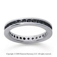 3/4 Carat Black Diamond 18k White Gold Channel Eternity Band
