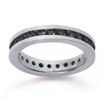 1 Carat Black Diamond 18k White Gold Channel Eternity Band