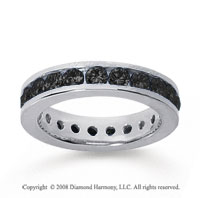 1 1/2 Carat Black Diamond 18k White Gold Channel Eternity Band