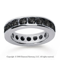 3 Carat Black Diamond 18k White Gold Channel Eternity Band