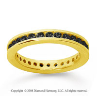 3/4 Carat Black Diamond 14k Yellow Gold Channel Eternity Band