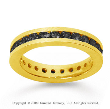 1 Carat Black Diamond 14k Yellow Gold Channel Eternity Band