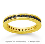 3/4 Carat Black Diamond 18k Yellow Gold Channel Eternity Band