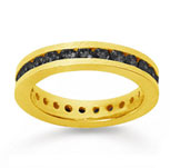 1 Carat Black Diamond 18k Yellow Gold Channel Eternity Band