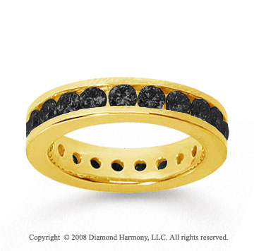 1 1/2 Carat Black Diamond 18k Yellow Gold Channel Eternity Band
