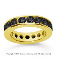 3 Carat Black Diamond 18k Yellow Gold Channel Eternity Band