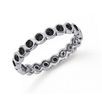 1/2 Carat Black Diamond Platinum Round Bezel Eternity Band