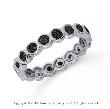 1 Carat Black Diamond Platinum Round Bezel Eternity Band