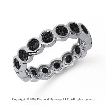1 1/2 Carat Black Diamond Platinum Round Bezel Eternity Band