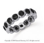 2 Carat Black Diamond Platinum Round Bezel Eternity Band