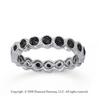 1 Carat Black Diamond 14k White Gold Round Bezel Eternity Band