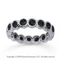 1 1/2 Carat Black Diamond 14k White Gold Round Bezel Eternity Band