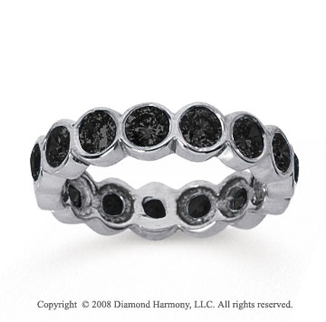 2 Carat Black Diamond 14k White Gold Round Bezel Eternity Band