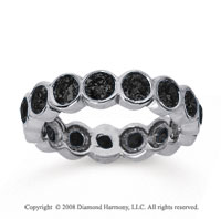 2 1/2 Carat Black Diamond 14k White Gold Round Bezel Eternity Band