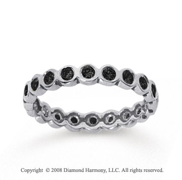 1/2 Carat Black Diamond 18k White Gold Round Bezel Eternity Band