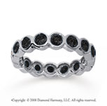 1 1/2 Carat Black Diamond 18k White Gold Round Bezel Eternity Band