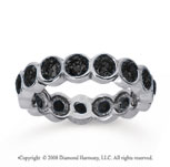2 1/2 Carat Black Diamond 18k White Gold Round Bezel Eternity Band